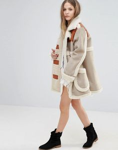 Moon River | Moon River Faux Suede Coat With Faux Shearling