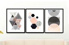 Triptych Wall Art, Geometric Prints, Set of 3 Prints, Scandinavian Art, Minimalist Art, Abstract Art Print, Giclee prints, Wall Decor