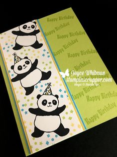 Look how stinkin cute these pandas are!  I love them!  This is my favorite stamp set in the Stampin' Up! 2018 Sale-A-Bration catalog.  You can make so many different handmade cards with it.