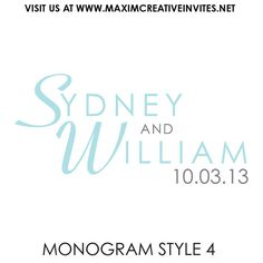 Customized Wedding Monogram  Digital by MaximCreativeInvites, $6.00