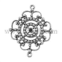 Tibetan Style Connectors, Lead Free, Flower, Antique Silver, 34x28x3mm, Hole: 2mm