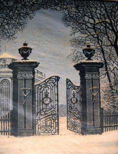 August Schnüge Colour Woodcut 'Schloss Richmond bei Braunschweig',1930's.