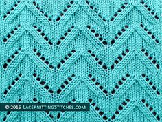 Lace knitting stitch of the Month - July 2016. #37 Chevron.