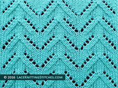 Lace knitting stitch of the Month - July 2016. #37 Chevron.