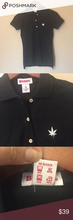 Boast Pique Cotton Polo Shirt Boast pique polo shirt in black, size XS, new with tags. Made with 94% pique cotton and 6% spandex, this perfectly fitted polo features shell buttons, a drop tail, and the brand's signature embroidered Japanese maple leaf. Looks great on or off the tennis court! Boast Tops