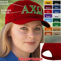 Alpha Chi Omega Sorority 2-Color Embroidery Caps $15.95 #Greek #Sorority #Clothing #Accessories #AlphaChiOmega #AChiO