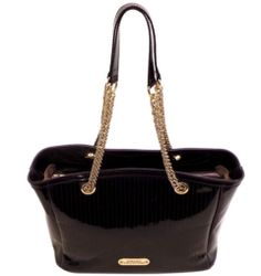 Versace Collection Patent Leather Tote in Eggplant 03255419 for sale online Online Shopping Websites, Latest Bags, Donatella Versace, Style And Grace, Buy Shoes, Black Patent Leather, Tote Handbags, Gold Chains