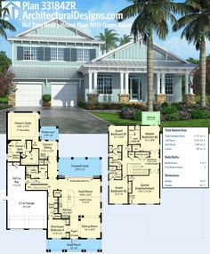 Architectural Designs House Plan 33184ZR is an attractive design perfect for a narrow lot. It has outdoor spaces front and back and a great game room upstairs.  Saving money on your utility bills is just a plus (the design is net-zero ready)!  Ready when you are. Where do YOU want to build?