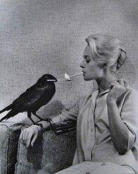 Retronaut  A crow lights Tippi Hedren's cigarette