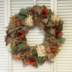 Large Fall Burlap Wreath, Autumn Wreath by Contemporary Crafting - pinned by pin4etsy.com