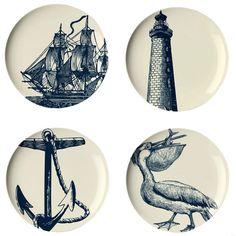 Thomas Paul 4 Piece Scrimshaw Dessert Plate Set >> I love these!