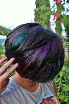 The top hairstyles of the month - August - Couleur Cheveux 02 Oil Slick Hair Color, Cool Hair Color, Hidden Hair Color, Pixie Hair Color, Peacock Hair Color, Hair Colour, Slick Hairstyles, Top Hairstyles, Hairstyle Short