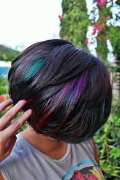 Oil slick dark hair