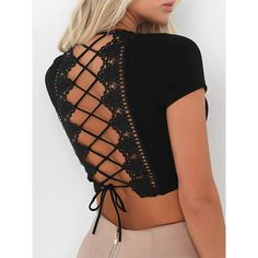 Black Plunge Lace Panel Lace-up Back Crop Top ($21) ❤ liked on Polyvore featuring tops, lace-up tops, woven crop top, plunge tops, cropped tops and laced tops