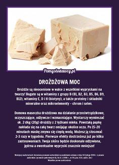 Drożdże są nieocenione w walce z wszelkimi wypryskami na twarzy! Bogate są w witaminy z grupy B (B1, B2, B3, B5, B6, B9, B12), witaminy E, D i H (biotyny), a także proteiny i składniki mineralne oraz mikroelementy - chrom i selen. Domowa maseczka drożdżowa ma działanie przeciwtrądzikowe, oczyszczające, odżywcze i wzmacniające. Wystarczy wymieszać ok. 2 dkg (20g) drożdży z 2 łyżkami mleka. Powstałą papkę nakłada się na całą twarz omijając okolice oczu. Po 15-20 minutach maskę zmywa się ciepłą… Kitchen Organisation, Body Training, Health Care, Beauty Hacks, Health Fitness, How To Make, Diy, Food, Wax