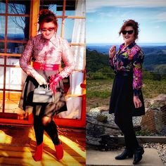 Styling my 70's Vintage Blouses! 🥰🤗💕 · Donna Does Dresses Fast Fashion, Fashion Wear, Short Leather Jacket, Red Belt, Cute Jackets, Blouse Vintage, Black Tights, My Wardrobe, Style Me