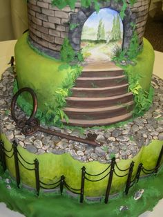 amazing painted cake - castle and garden