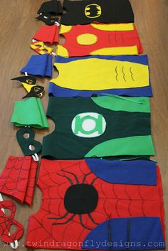 Need an idea for our costume contest this weekend? Dragonfly Designs: No Sew SUPER HERO COSTUMES Tutorial. Make your own spiderman, Green Lantern or Batman costume in just a few hours. Sewing For Kids, Diy For Kids, Crafts For Kids, Arts And Crafts, 5 Kids, Tutorial Fantasia, Costumes Faciles, You Are My Superhero, Sewing Crafts