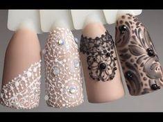 Кружево или гипюр - рисуем кружево на ногтях. - YouTube