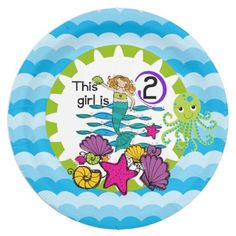 Mermaid 2nd birthday party paper plates features a mermaid with golden hair in the ocean, the ocean waves, lots of sea shells and starfish, an octopus of green and blue, text that reads This Girl is 2, and a wide border of blue ocean waves! If she loves mermaids she'll love these mermaid theme 2nd birthday paper plates as part of her second birthday party celebration!