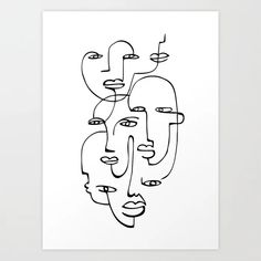 Continuous Line Art Print, One Line Drawing Faces Illustration, Modern Minimalist Sketch Abstract Wall Art Printable Original Artwork Bodysuit Tattoos, Art Masculin, Face Line Drawing, Drawing Faces, Face Doodles, Geometric Face, Family First Tattoo, Abstract Face Art, Tattoo Abstract