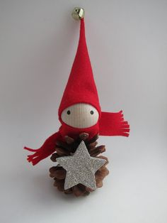 """8"""" Pinecone Elf Tree Topper - Christmas Ornament  - Woodland Holiday Decor - Forest Gnome - Tabletop Mantel Tree - Star - Hostess Gift"""