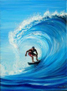 Sports Painting, Surfing Painting, Ocean Wave Painting, Wave Art, Surfing Pictures, Seascape Paintings, Mermaid Paintings, Coastal Art, Ocean Waves