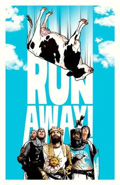 """Monty Python and the Holy Grail - Joshua Budich - ''Run Away'' ---- Art featured in Gallery1988 presents """"Crazy 4 Cult Back in LA"""" Art Show (2014-12)"""