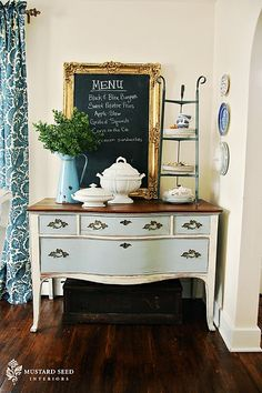 Painted buffet with chalkboard