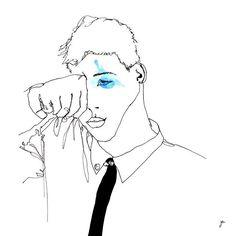 CHAGRIN #leshommessecachentpourpleurer #illustration #drawing