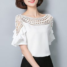 Women's Going out Casual/Daily Vintage Sophisticated All Seasons Blouse,Solid Boat Neck Short Sleeve Rayon Polyester - GBP £ Cheap Womens Tops, Street Chic, Fashion Outfits, Womens Fashion, Diy Clothes, Gorgeous Women, Blouse Designs, Blouses For Women, Women's Blouses