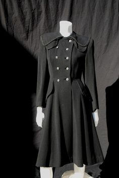 Vintage 40's Coat Military Style WWII Overcoat Lady Coat Small Double Collar | eBay