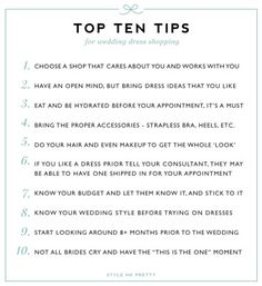 Wedding Dress Shopping Tips: http://www.stylemepretty.com/2015/01/14/10-tips-for-wedding-dress-shopping/
