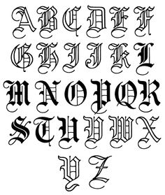 Old English Lettering Alphabet Chicano Lettering, Tattoo Lettering Fonts, Lettering Styles, Graffiti Lettering, Hand Lettering, Calligraphy Tattoo, Old English Tattoo, Tattoo Alphabet, Letter A Tattoo