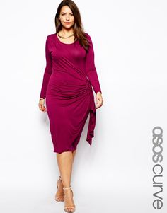 ASOS CURVE Exclusive Wrap Dress With Ruched Detail In Longer Length
