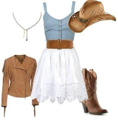 Cute country outfit, which includes cowboy boots and a cowboy hat. Heck yaa!!!!
