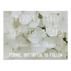 Wedding Party Save The Date Floral Hydrangea White Postcard - romantic wedding love couple marriage wedding preparations
