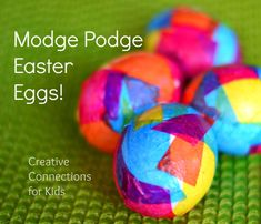 Modge Podge Easter Eggs - easy and fun!,  Glue gun Eaater eggs, Easter eggs - not just for hunting!