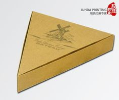 600g Kraft Paper Pizza Box Packaging , Triangle Shape Kraft Paper Box from China