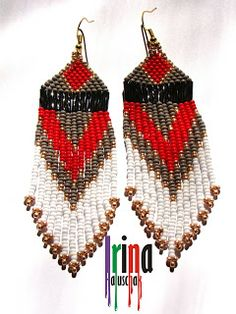 seed bead earring, art, craft. handmade, DIY, beadwork, red, white, grey, black, Ukraine, http://irina-haluschak.blogspot.com/
