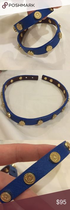 Tory Burch Foundation Wrap Bracelet Royal Blue and Gold, worn maybe twice. Great condition Tory Burch Jewelry Bracelets
