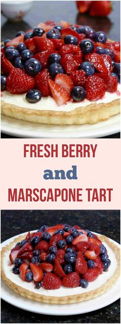 A buttery shortbread crust with a delicious marscapone filling and refreshing jam-glazed berries on top. Great Desserts, Gluten Free Desserts, Summer Desserts, Delicious Desserts, Dessert Recipes, Yummy Treats, Sweet Treats, Dinner Recipes, Marscapone Dessert
