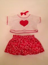 Build A Bear Outfit Clothes Red Heart Shorts Shirt