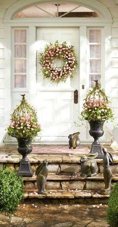 Tulip planters, Easter decor, DIY decor, DIY crafts tutorial, Easter wreath, Porch decor, Easter decoration ideas. Easter DIY. Garden decor. Outdoor decor.