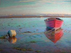"""Red Mahogany Boat"" Soft pastel painting by Poucher"
