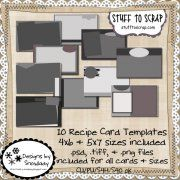 stuff to scrap; Designs by Snowlady Recipe Binders, Recipe Cards, Card Templates, Card Sizes, Food Art, Paper Crafts, Cookbook Ideas, Digital, Projects