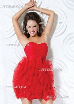 Sweetheart Ruffles Sleeveless Red Cocktail Dresses
