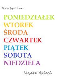 Dni tygodnia w 7 językach- do pobrania - Mądre dzieci