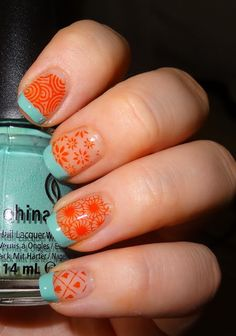 Adventures in LalaLand: Teal and Orange Wedding Nail Skittles