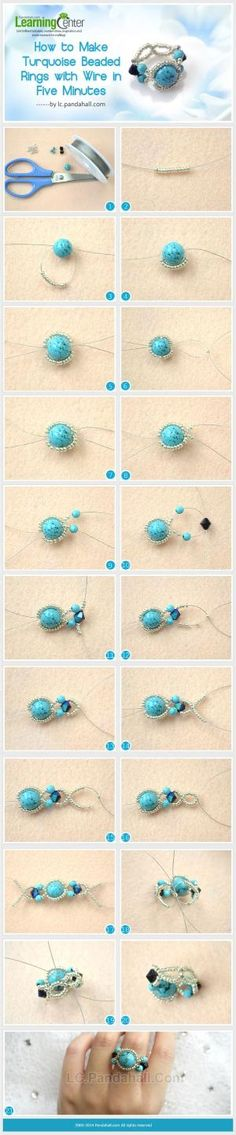 How to Make Turquoise Beaded Rings with Wire in Five Minutes by wanting
